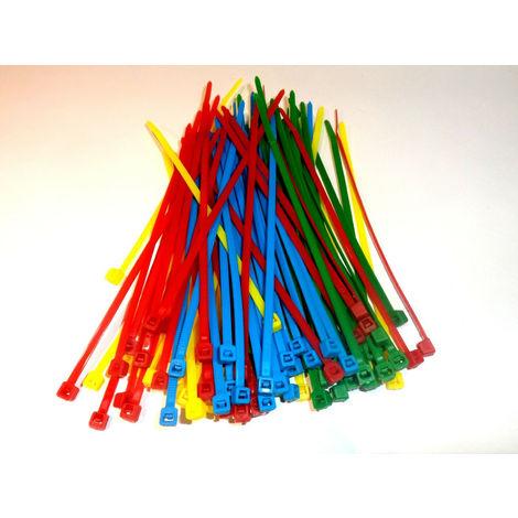 Colliers de serrage -Rilsan plastiques couleurs assortis 300 x 4,8 mm lot de 100 pièces