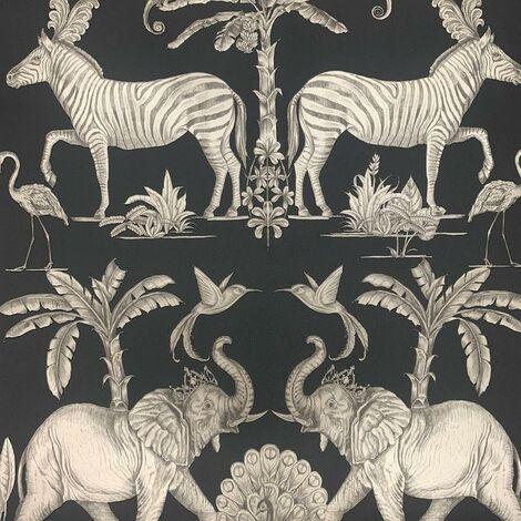 "main image of ""Colonial Charcoal Gold Wallpaper Sublime Metallic Animals Safari Jungle"""