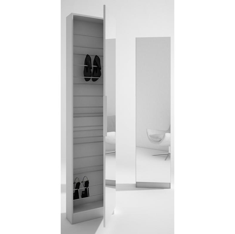 Colonne A Chaussures Elle Avec Miroir Coloris Blanc Dim L500 X H1805 X P202 Mm 6ex 44030