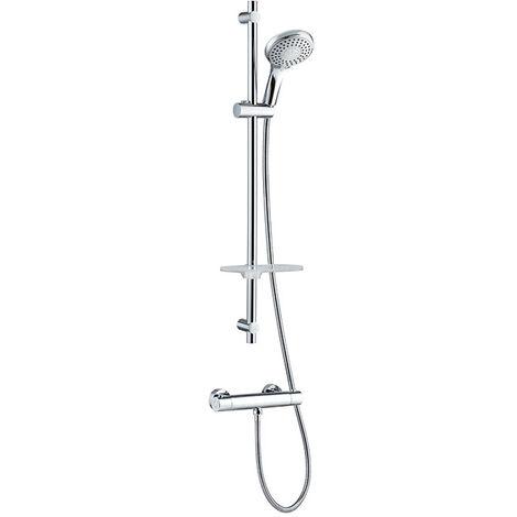 Colonne avec mitigeur thermostatique en laiton avec sécurité à 38° - barre de douche Rimini Comfort shower mitigeur thermostatique - Wirquin - 60721393