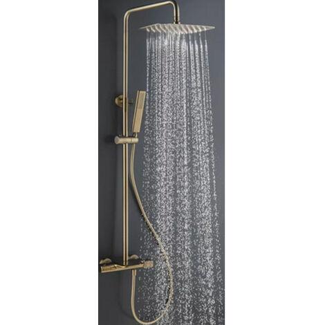 Colonne bain-douche thermostatique cascade dore brossé