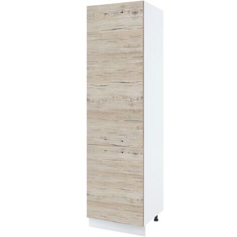 """main image of """"Colonne de cuisine pour réfrigérateur encastrable - 3 portes, L 60 cm - Noyer blanchi."""""""