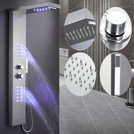 Colonne de douche Avec LED éclairage-Thermostatique Acier inoxydable 22*45*125cm