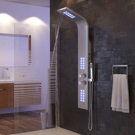 Colonne de douche Avec LED éclairage-Thermostatique Acier inoxydable - Argent