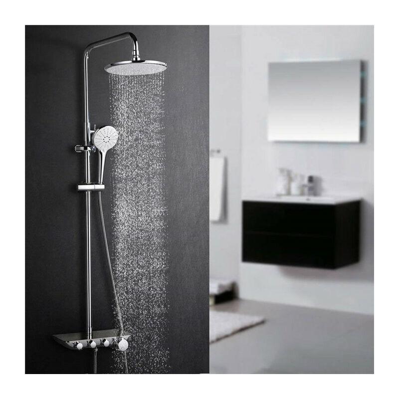 colonne de douche avec plateau de rangement kit de douche. Black Bedroom Furniture Sets. Home Design Ideas