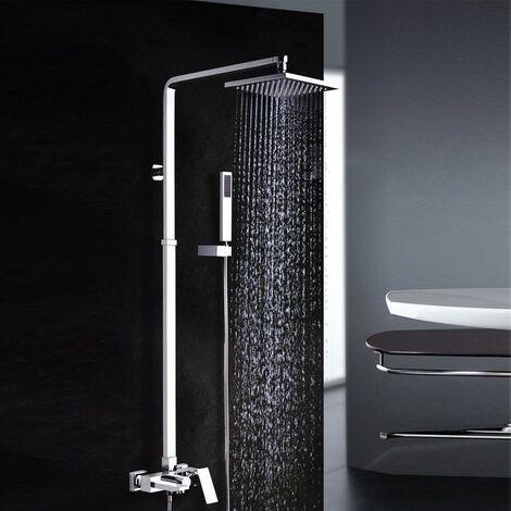 Colonne de douche & bain forme carré finition chromée