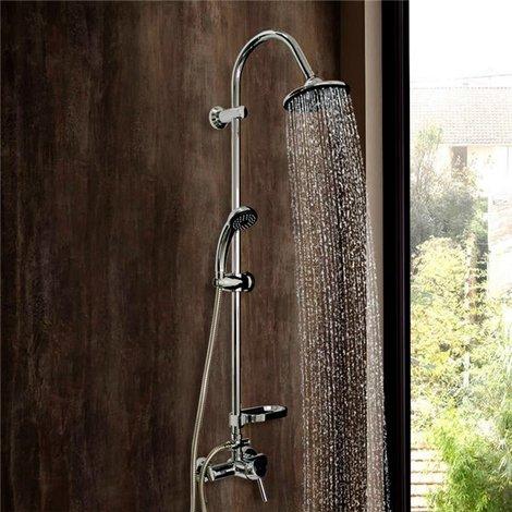 Colonne de douche design ensemble mitigeur douchette pommeau porte savon flexible