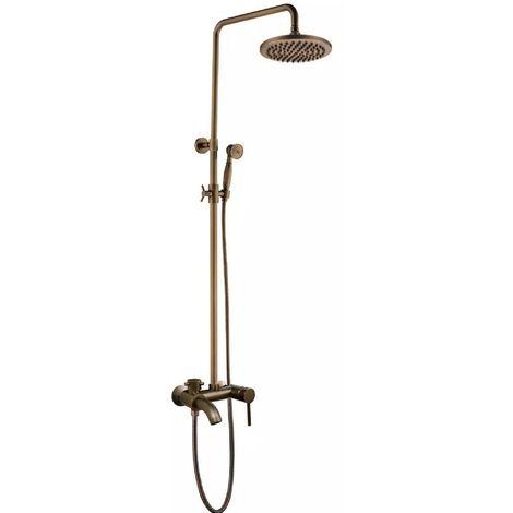 Colonne de douche en laiton antique avec douche à main et bec verseur