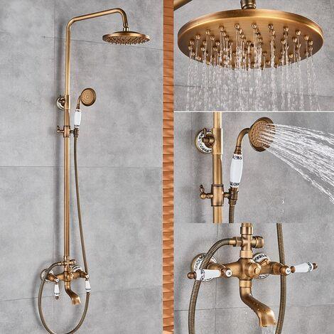 Colonne de douche en laiton antique avec douchette de pluie et pommeau de douche