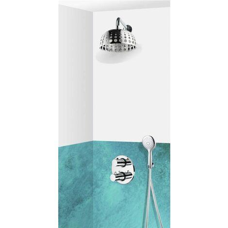 Colonne de douche encastrable murale thermostatique tete ronde design en inox UDINE