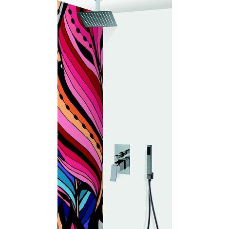 Colonne de douche encastrable plafond mécanique tete carree en inox MILANO