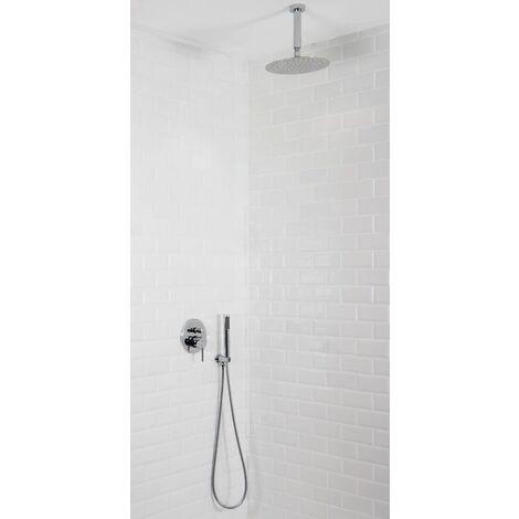 Colonne de douche encastrable plafond mécanique tete ronde en inox MOHANO