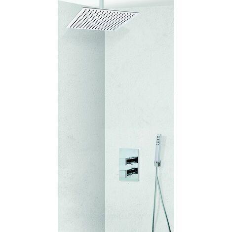 Colonne de douche encastrable plafond thermostatique tete carree en inox COSENZA
