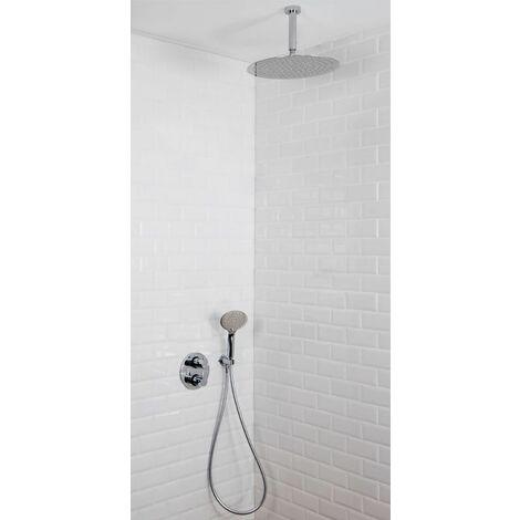 Colonne de douche encastrable plafond thermostatique tete ronde en inox SAVONA