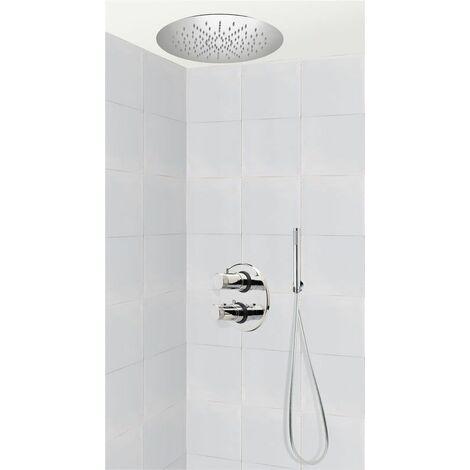 Colonne de douche encastrable thermostatique tete ronde en inox plafond BARLETTA