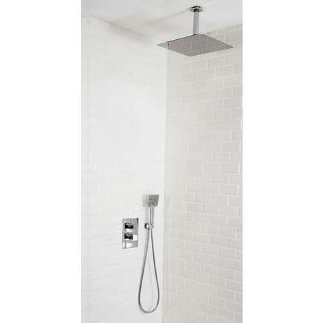 Colonne de douche encastrable thermostatique tete ronde en inox plafond CREMONA