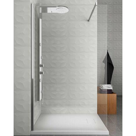 Colonne de douche hydromassage avec quatre fonctions en acier Inox brossé