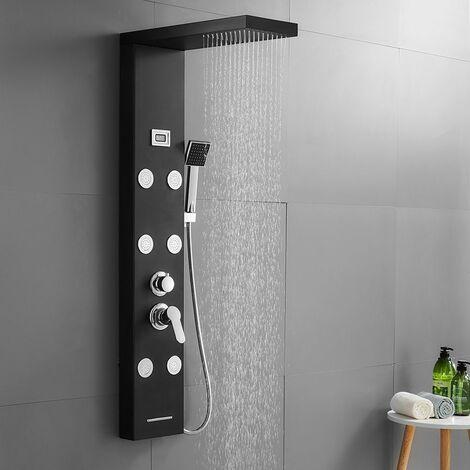 Colonne de douche hydromassante Noire avec écran Affichage LCD Pommeau de Douche 6 jets de massage 4 modes de douche Ensemble de Douche en Acier Inox