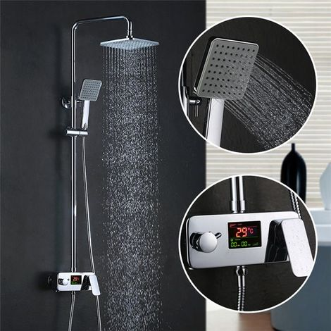 Colonne de Douche Italienne Avec Ecran LCD Système de Colonne Pour Salle de Bain Chrome Set de douche Design Moderne