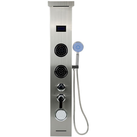 Colonne de Douche LED en Acier Inoxydable 304 Panneau de Douche avec Douche à Main Multi-fonctionnel l'eau de Sortir
