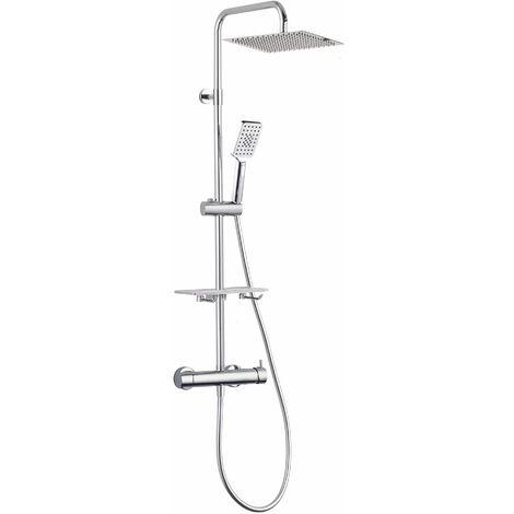 Colonne de douche mécanique à tête carrée inox
