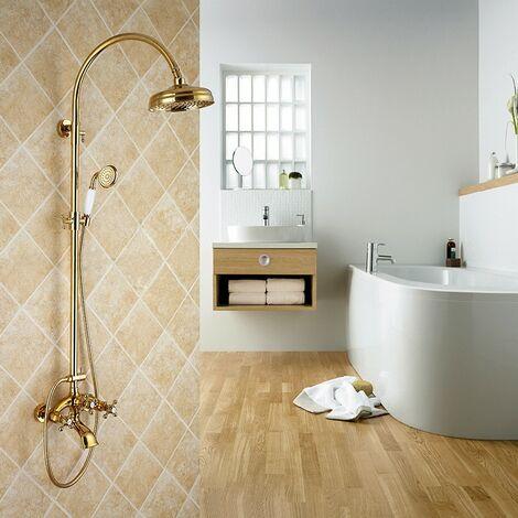 Colonne de douche mélangeur style doré forme cloche