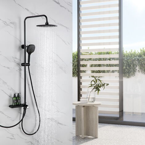 Colonne de douche Noir avec Étagère Ensemble de douche sans mitigeur 3 fonctions douchette à main Tête de Douche 9.45 Effet Pluie pouces pour Salle de bain - Noir