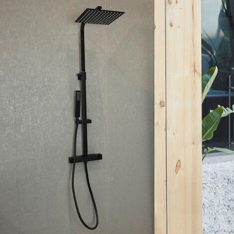 Colonne de douche noir mat avec thermostatique et pommeau carré - Thalo