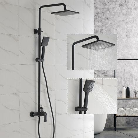 Colonne de douche Noire avec Tête de douche Carré et Douchette Design Unique Ensemble de Douche Set de douche Hauteur Réglable pour Salle de bain