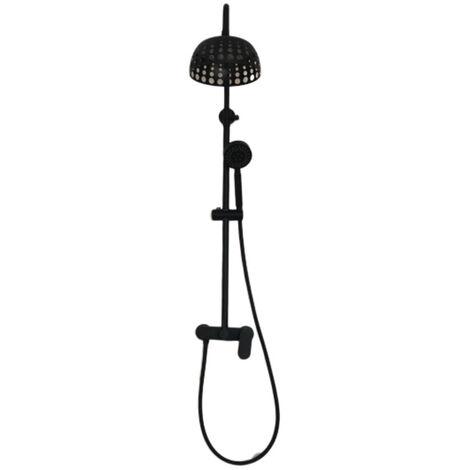 Colonne de douche noire mécanique noire tete ronde design en inox OPER´ART