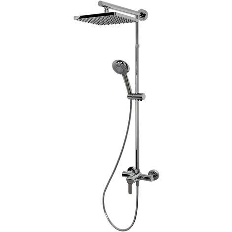 Colonne de douche réglable en hauteur avec mitigeur, 42 x 92 - 155 cm, Rain Schulte, douchette à main ronde, aspect chromé, pommeau carré orientable