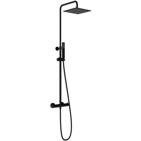 Colonne de douche thermostatique carrée noire Ponsi BNCOLKQTRM0011 | Noir mat - Thermostatique