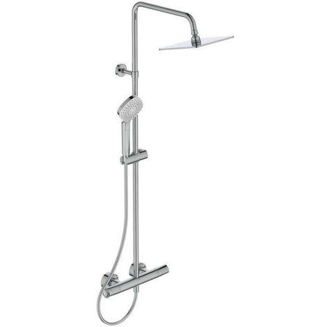 Colonne de douche thermostatique - CERATHERM T100 - Pomme de tete Ø20 cm + Douchette Ø11 cm 3J - Chrome - Ideal Standard