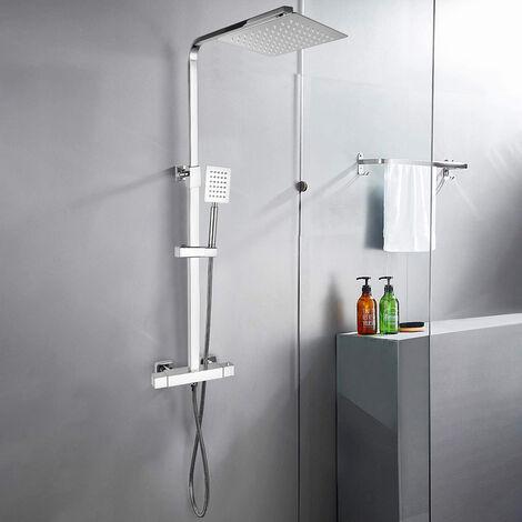 Colonne de douche thermostatique en acier avec mitigeur et douchette Saturnia