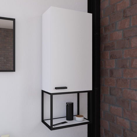 Colonne de rangement laqué blanc - 100x40x25 - 2 compartiments de rangement - poignée noir mat