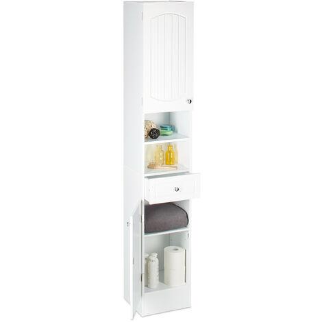 Colonne de salle de bain en bois blanc armoire porte tiroir meuble de rangement MDF lamelles HxlxP: 173,5 x 30,5 x 32 cm, blanc