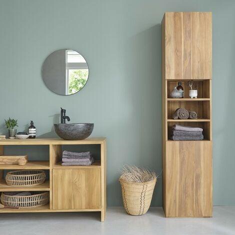 Colonne de salle de bain en bois de teck - Marron