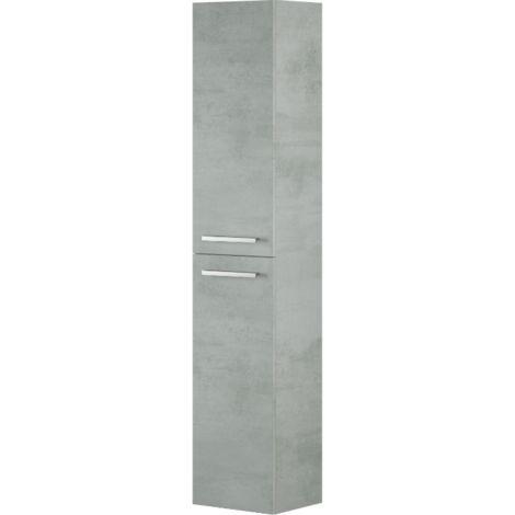 Colonne de salle de bain suspendue 2 portes couleur Ciment | Ciment
