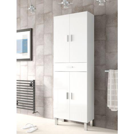 Colonne de salle de bains sur pied blanche brillante avec quatre portes et un tiroir | Blanc brillant