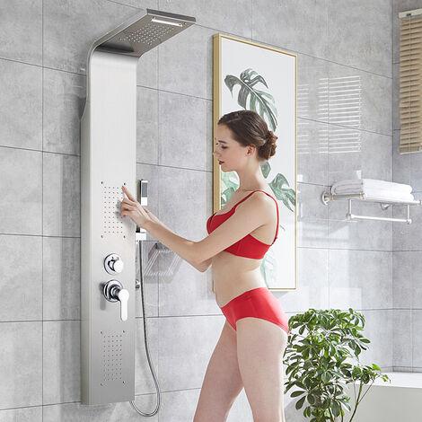 """main image of """"Colonne douche en acier inox 304 avec mitigeur, Panneau douche multifonctionnel 4 fonctions, douche cascade et hydromassante"""""""