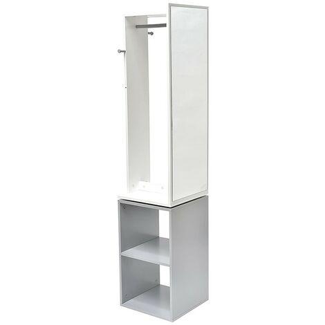 Colonne rangement salle de bain pivotante avec miroir - Blanc