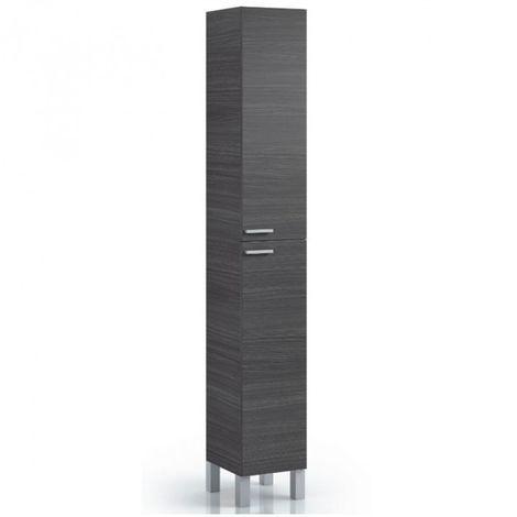 Colonne salle de bain avec 2 portes coloris gris cendre - 182 x 30 x 25 cm -PEGANE-