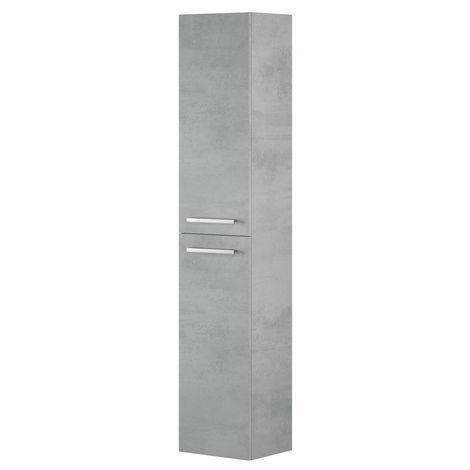 Colonne Salle de bain suspendue avec 2 portes décor béton - 150 x 30 x 25 cm -PEGANE-
