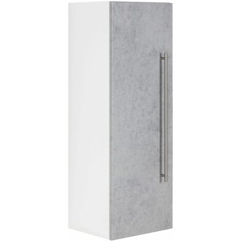 Colonne SANTINI 100cm blanc mat avec porte en Aspect Béton
