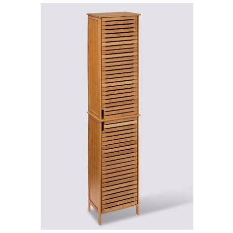 Colonne SDB de 2 portes en bambou naturel - Dim : L.34 x P.24 x H.170 cm
