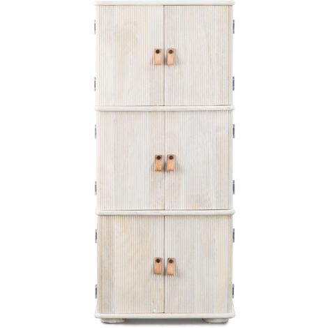 Colonne striée rangement poignées lanières cuir, 6 portes - Bois blanchi