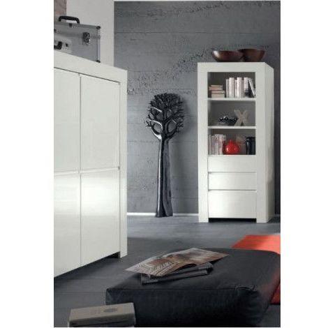 Colonne, vitrine LAZARRO 2 tiroirs, 1 porte - Blanc