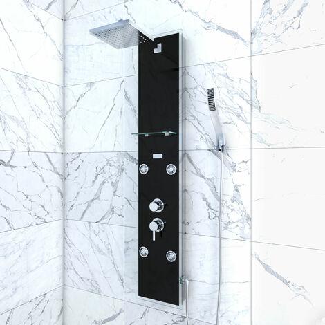 Colonnne de douche à hyrdomassage - 22x125cm - en verre trempé avec buses hydromassantes - EPSILON