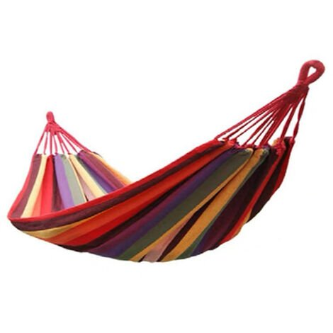 Color bar leisure hammock swing, thickened, canvas, travel essential, Lake blue
