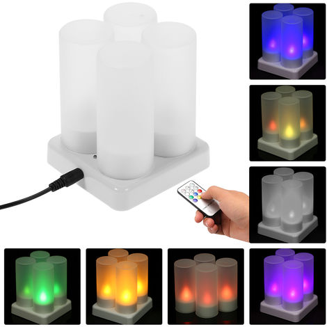 Color Changing Flickering Flameless Tealight Candles Lights with Remote Control USB 5V Frosted Cups Charging Base
